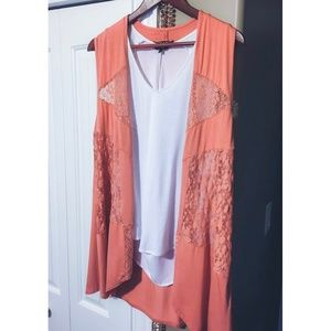Coral / Salmon Draped Lace Vest